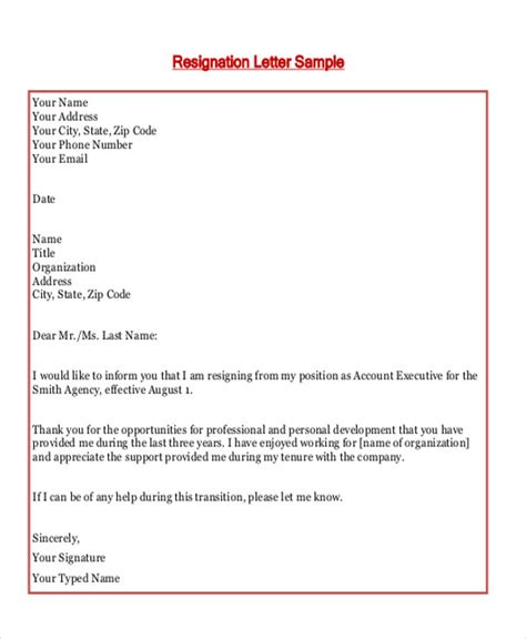 Resignation Letter Format For Contract Employees Sle Employment Resignation Letter 7 Exles In Pdf Word