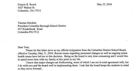 Resignation Letter For School Board Member Columbia Former School Board Member Clarifies Reasons