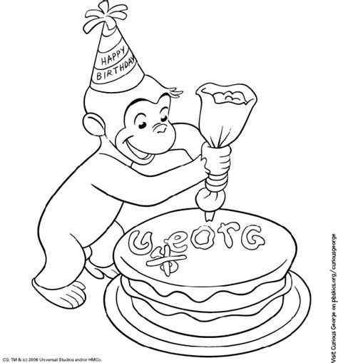 curious george coloring page curious george coloring page birthday pbs