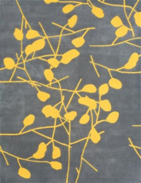 Grey And Yellow Rugs by Grey Rug With Yellow Branches Modern Rugs By