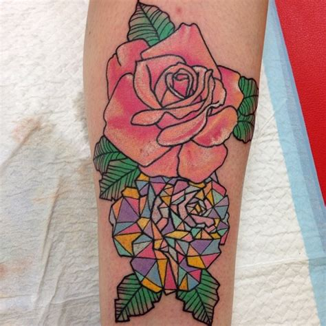 crystal rose tattoo pink on leg