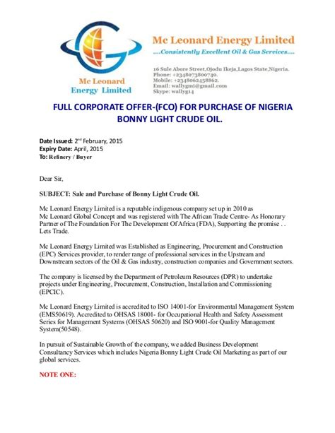 Letter Of Intent To Purchase Diesel mc leonard corporate offer