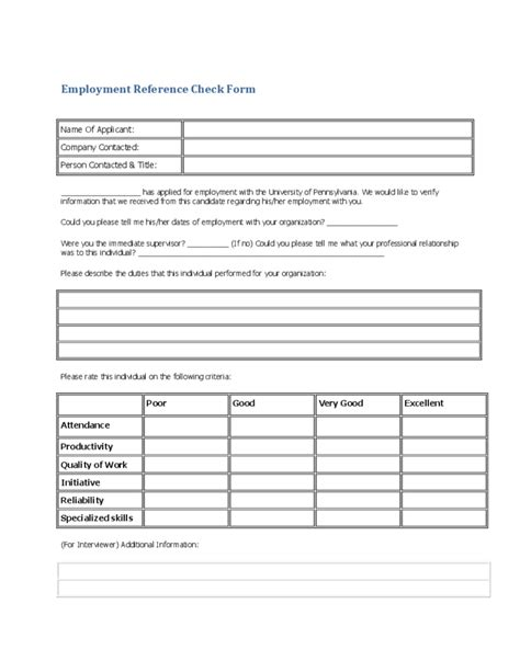 reference form template generic employee reference check form free