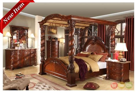 Four Poster Bedroom Set by Castillo De Cullera Cherry Size Canopy Bedroom Set