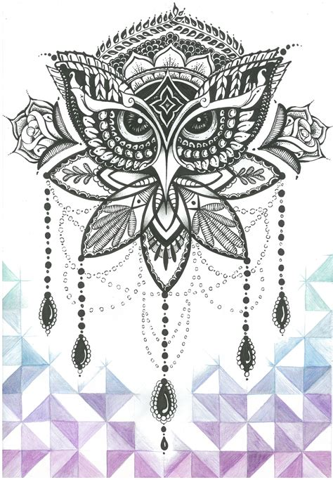 ornate tattoos ornate owl inked and coloured by jolene esousa