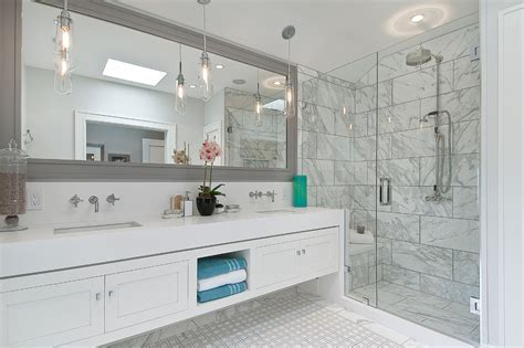 large framed mirrors Bathroom Traditional with shower