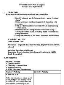 detailed lesson plan in english contextclues lesson plan