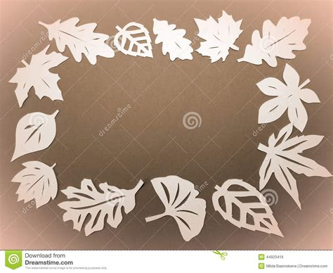 brown pattern cutting paper white leaves frame paper cutting stock photo image
