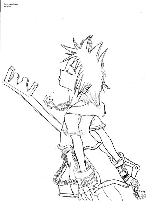 keyblade coloring pages how to draw sora keyblade