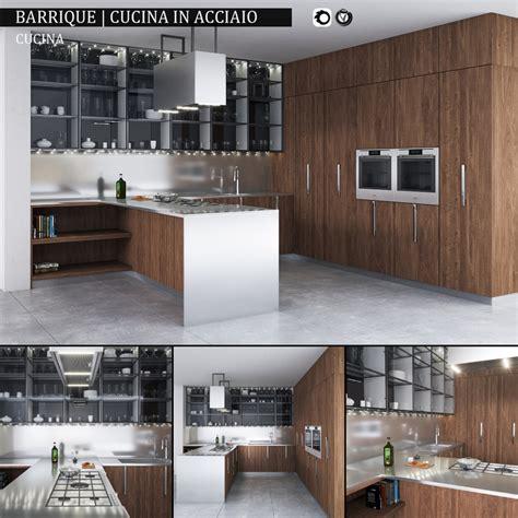 cucina in 3d kitchen barrique cucina acciaio 3d max