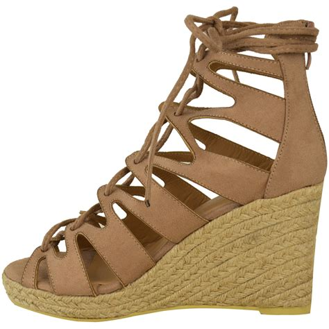gladiator wedge sandals new womens espadrille summer wedge platform
