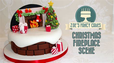 christmas fireplace backdrop cake decorating snow theme