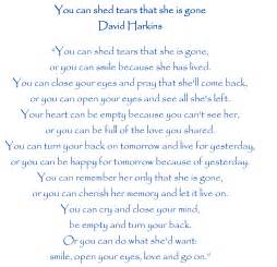 you can shed tears poem