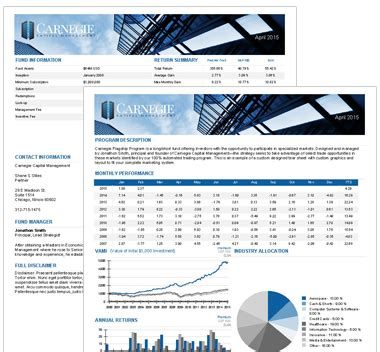 Hedge Fund Reporting Template Hedge Fund Tear Sheet Design Financial Marketing And