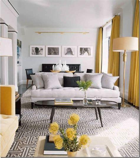 contemporary vintage living room grey  yellow