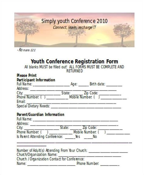 youth registration form template registration form templates