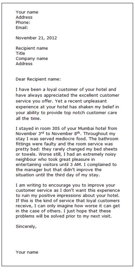 Customer Letter Of Dissatisfaction Complaint Letter Sle Formal Letter Sles