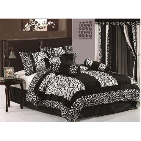 zebra bedroom set chezmoi collection 8 pieces black white micro fur zebra with giraffe design comforter 86 x88