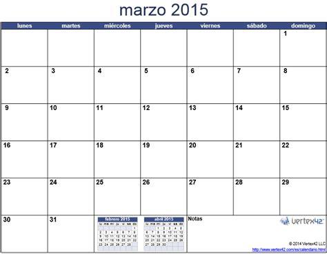 Calendario De Marzo 2015 Calendario 2015 Mes Por Mes Para Imprimir Universo Guia