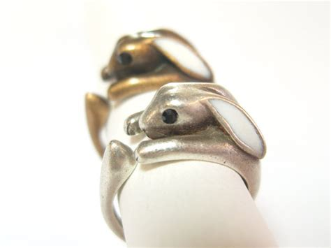 Bunny Ring bunny ring rabbit ring antique ring animal jewelry by thessong