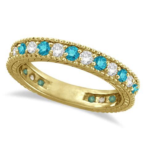 white  blue diamond ring eternity band  yellow gold