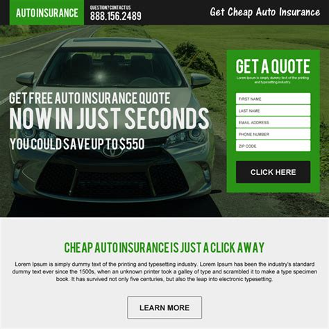 auto insurance landing page design  capture leads  sales