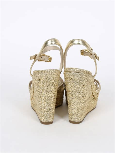 Sandal Wedges Ls03 36 michael kors cicely gold strappy wedge sandals 36 luxury bags