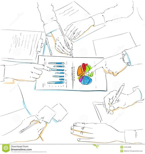 diagram sketch financial charts sketch business team work stock
