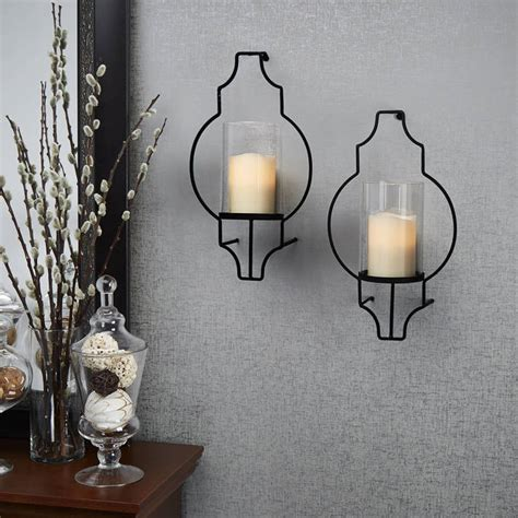 Glass Wall Sconce Candle Holder Lights Flameless Candles Pillar Candles Hurricane Glass Flameless Candle Wall Sconce