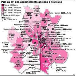 toulouse nouvelle carte des prix immobilier par quartier
