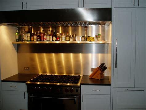 stainless steel backsplash with custom shelf