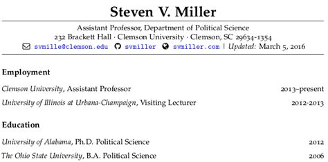 Resume For Students Examples by Make Your Academic Cv Look Pretty In R Markdown Steven V