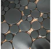 Brushed Black Metal Mosaic SMMT025 Penny Round Stainless