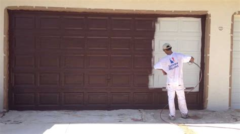 How To Paint A Metal Garage Door by Garage Door Spray Painting