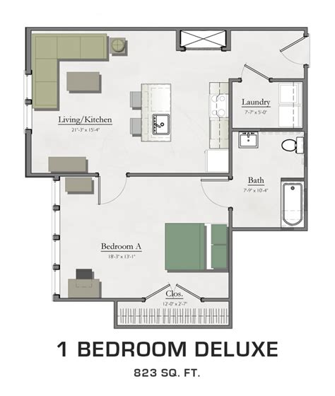 One Bedroom Apartment Designs Exle Floor Plans For Msu Students Student Housing In East Lansing