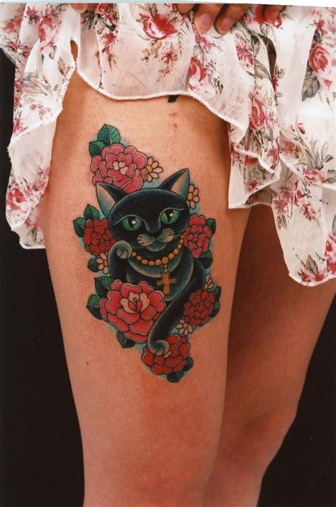 cat tattoo hours best 25 traditional thigh tattoo ideas on pinterest