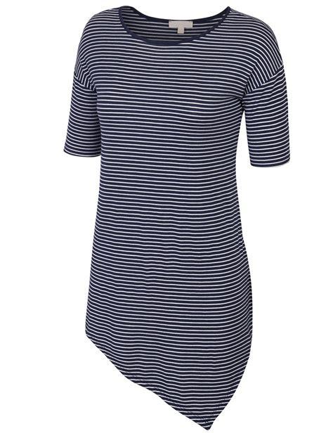 Yt Top Blouse Valen Navy sleeve striped asymmetrical hemline tunic top kogmo