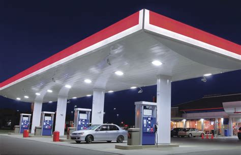 led gas station canopy lights improve safety with gas station led lighting