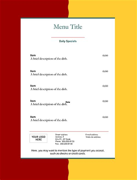 menu pricing template restaurant menu templates graphics and templates