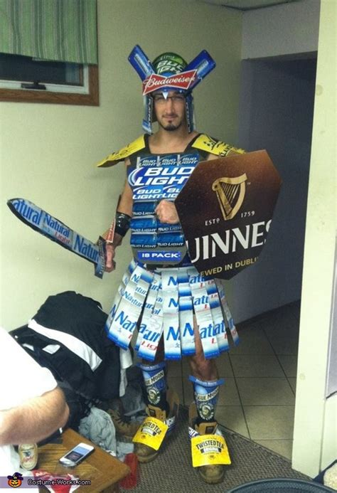 gladiator costume  beer boxes  cans