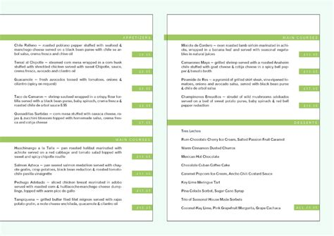 restaurant menu templates free mac