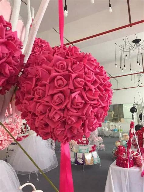 9 Quot Fuschia Kissing Ball Foam Flowers Pomanders For Wedding Floral Balls Centerpieces