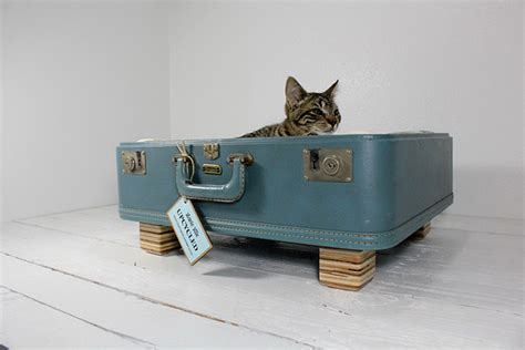 upcycled cat bed vintage houses for cats by atomic attic television