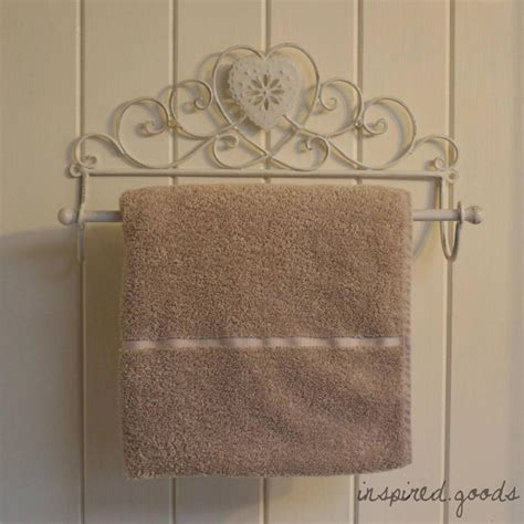 vintage metal heart towel rail shabby chic bathroom wall kitchen roll holder ebay