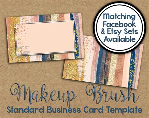 Card Template Site Etsy by Watercolor Business Card Makeup Business Card