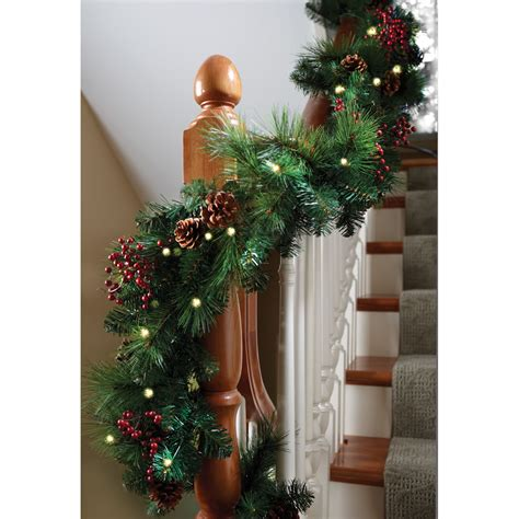 sears outdoor lighted christmas garland the cordless prelit shaped garland hammacher schlemmer