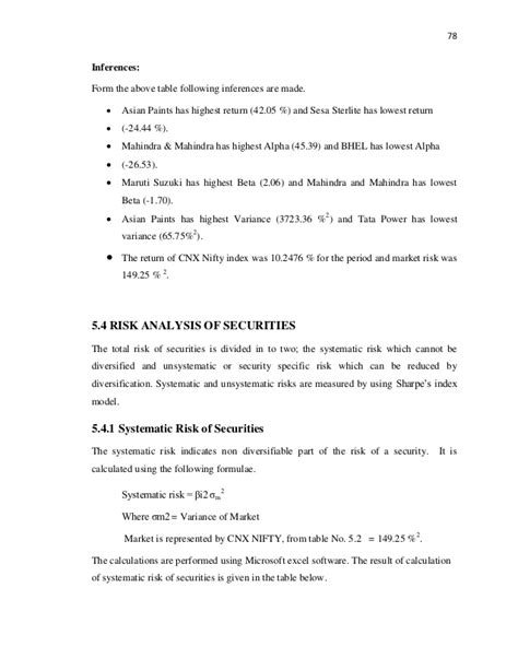 Mba Project Report Maruti Suzuki Pdf by Mba Finance Project Sharpes Single Index Model Project