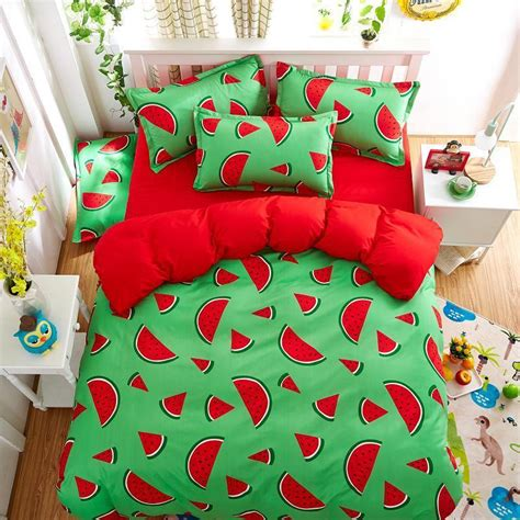Bedcover Set Polos Embos 180 X 200 X 20 No1 Rosewell Merah Hati 96 fruit watermelon bedding set king duvet cover sheet pillow ebay