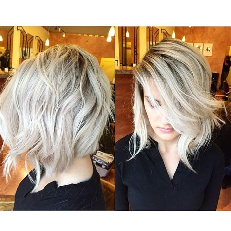 color melt with darkerr root ice blonde shadow root color melt lob cut by gary