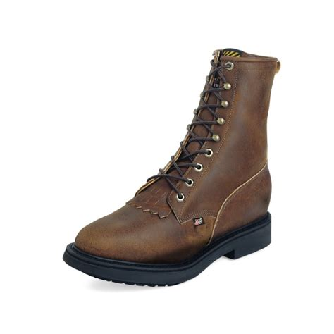 justin steel toe lace up boots justin s aged bark comfort 174 lace up steel toe
